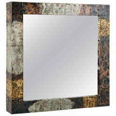 Paul Evans Bold Patchwork Mirror in Copper, Brass and Steel