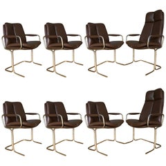 Tim Bates for Pieff England Set of Eight Leather Dining or Office Chairs