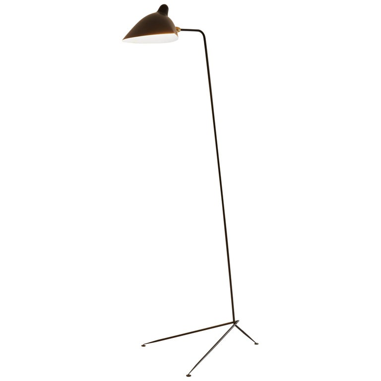 Serge Mouille Brass and Black Aluminum Mid-Century Modern Floor Lamp