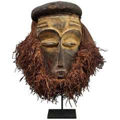 Eastern Pende Tribal Mask with Raffia, Democratic Republic of Congo