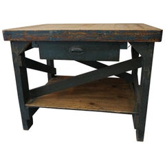 Rhode Island Factory Table with Blue Paint, circa 1940