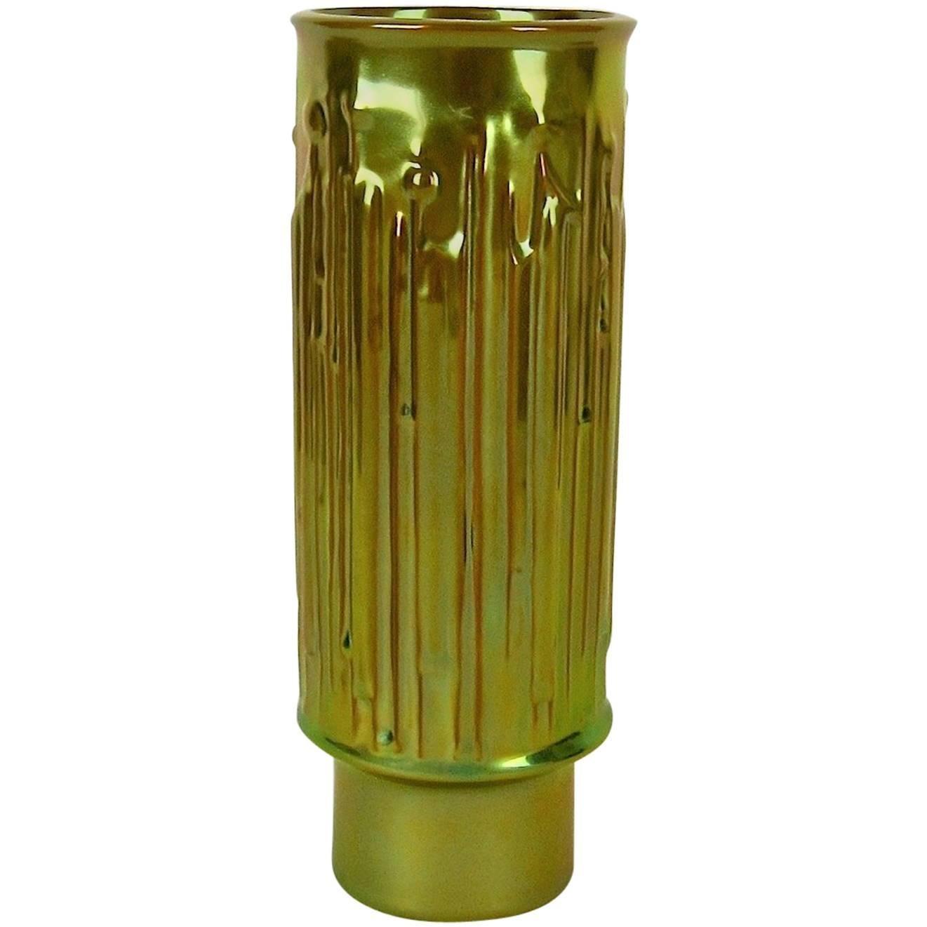 Modernist Zsolnay Pecs Vase with Metallic Eosin Glaze