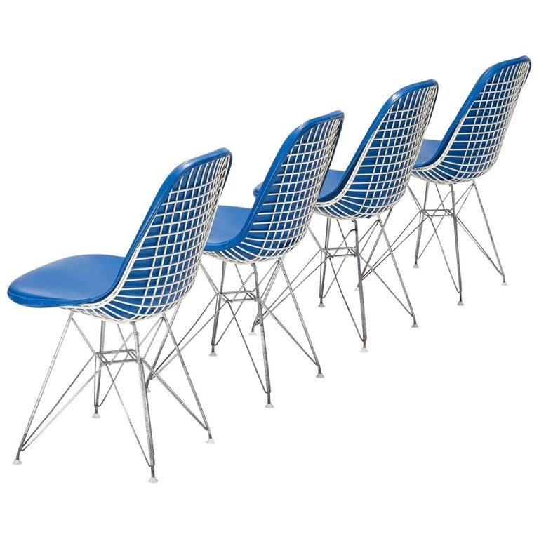 Original Set of 4 Eames DKR-1 Dining Chairs in Blue Vinyl and White Steel, 1951 For Sale