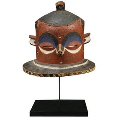 "Pende ""Giphogo"" Tribal Helmet Mask, Democratic Republic of Congo, Red and Black"