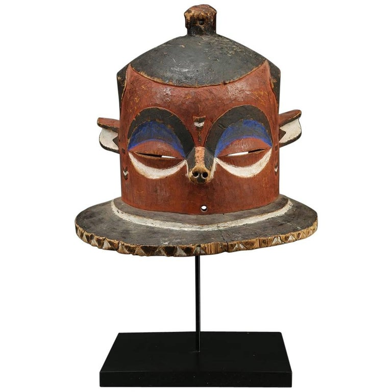 """Pende """"Giphogo"""" Tribal Helmet Mask, Democratic Republic of Congo, Red and Black"""