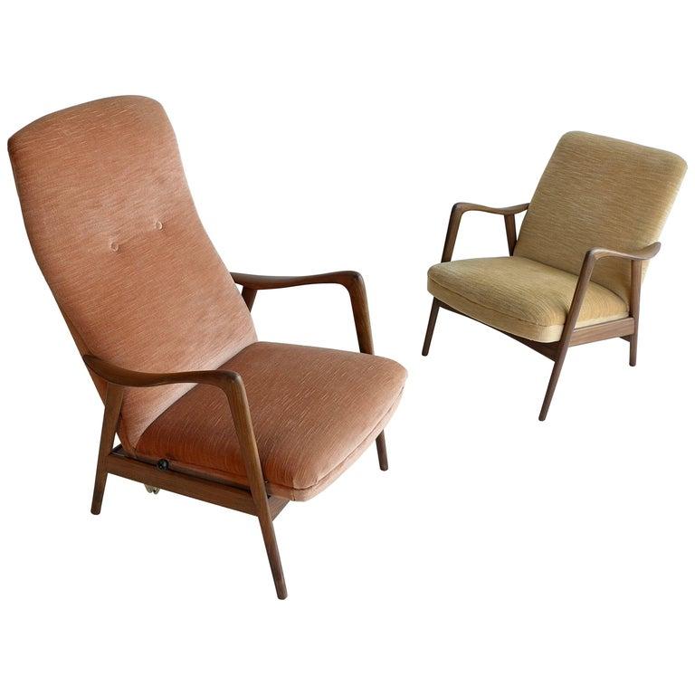 Pair of Westnofa Recliner Lounge Chairs in Velvet,  by Ingmar Relling, Norway