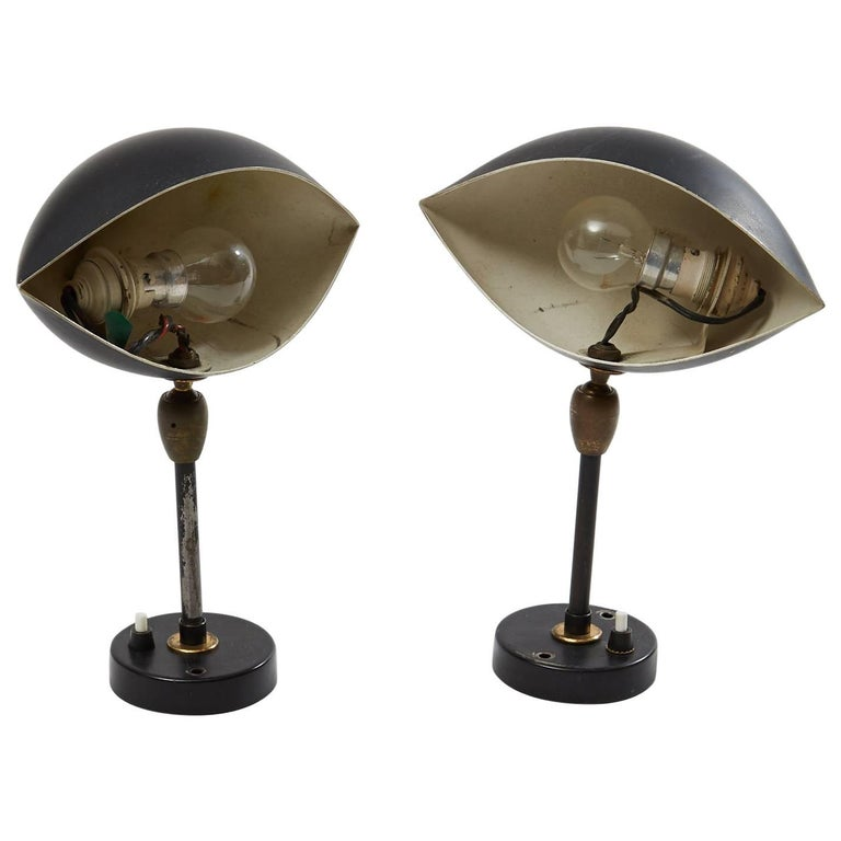 Serge Mouille Pair of Sconce Eye Brass and Black Aluminium Wall Lamp, 1956