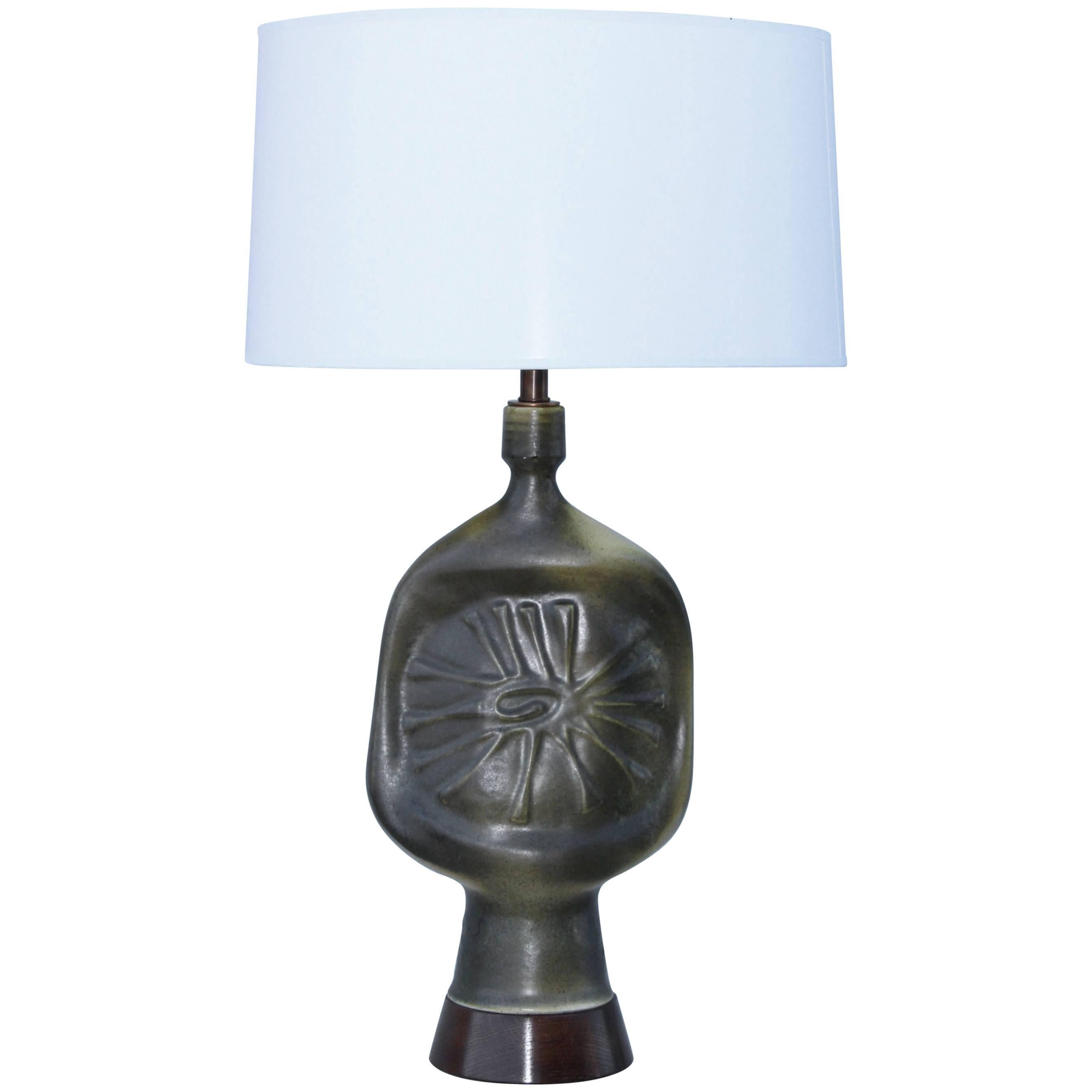 1960s French Modernist Pottery Table Lamp