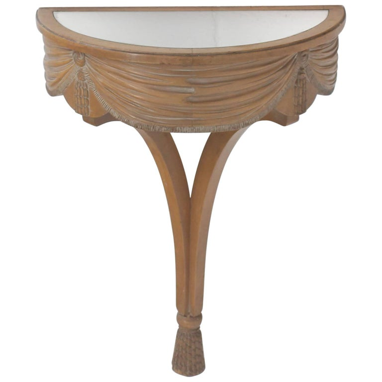 Art Nouveau Deco Mirror Top Carved Demilune Console Table