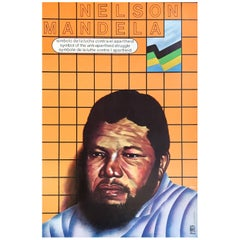 Vintage Nelson Mandela Apartheid Poster, 1986
