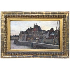 "Emile Louis Mathon ""The Lieutenancy at Honfleur"" Oil Painting on Wood"