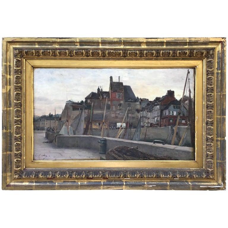 """Emile Louis Mathon """"The Lieutenancy at Honfleur"""" Oil Painting on Wood"""