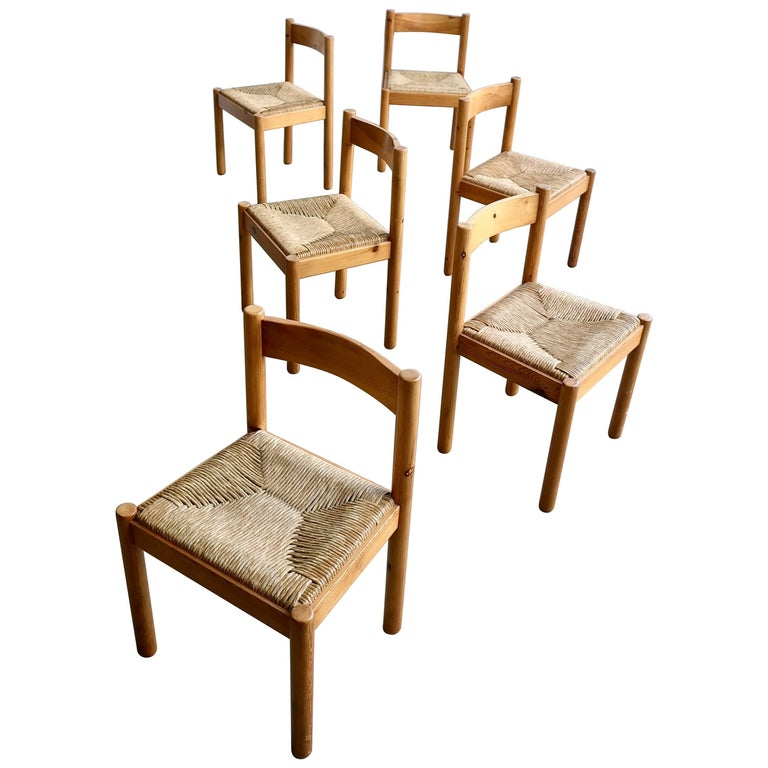 Set of Six Pine and Wicker Chairs in Style of Charlotte Perriand For Sale