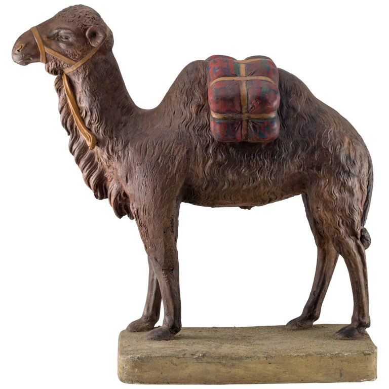 Terracotta Painted Camel, Midcentury