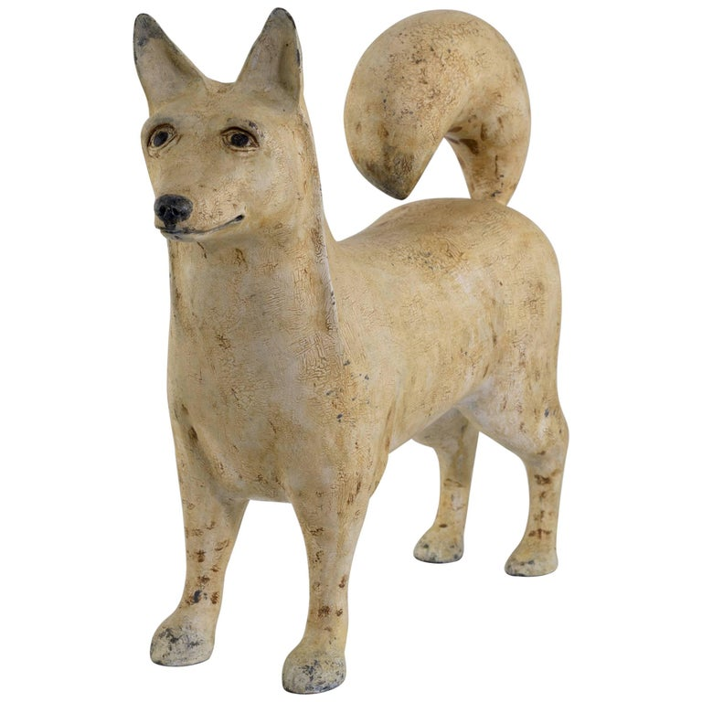 Folky Carved and Painted Dog by Renowned Artist Frank Finney