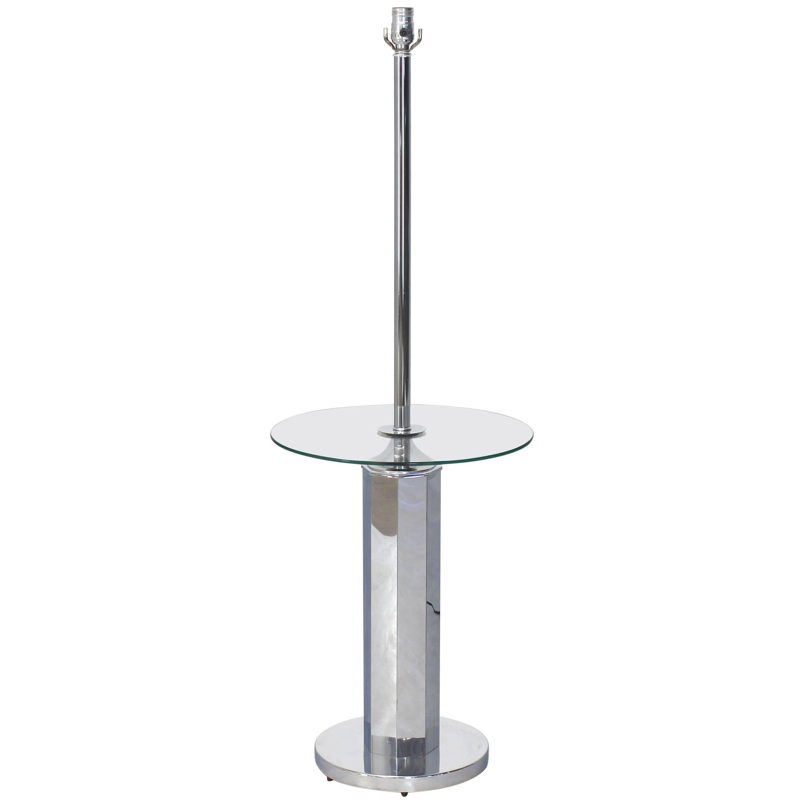 Chrome and Glass Floor Lamp Round Side Table
