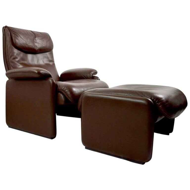 Brown Leather Reclining Lounge Chair and Ottoman by De Sede