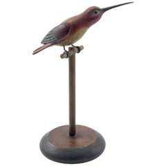 Carved and Painted Humming Bird on Perch