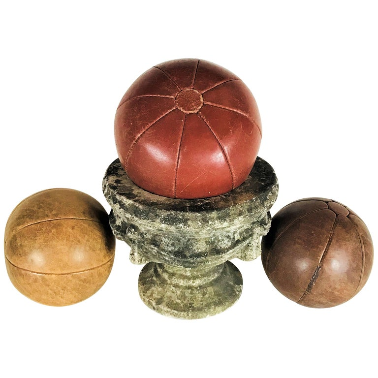 Three Vintage Leather Medicine Balls, 1920s-1930s Germany