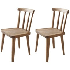 "Pair of Swedish Stained Pine Wood Chairs Model ""Uto"" by Axel Einar Hjorth 1930s"