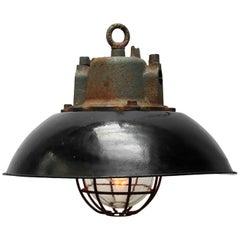 Black Enamel Vintage Industrial Cast Iron Clear Glass Industrial Pendant Light