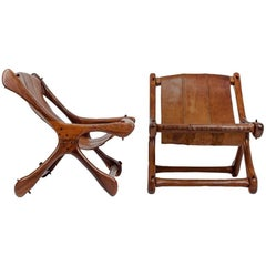 "Pair of Mexican Wood and Leather Chairs Model ""Sloucher"" by Don Shoemaker 1950s"