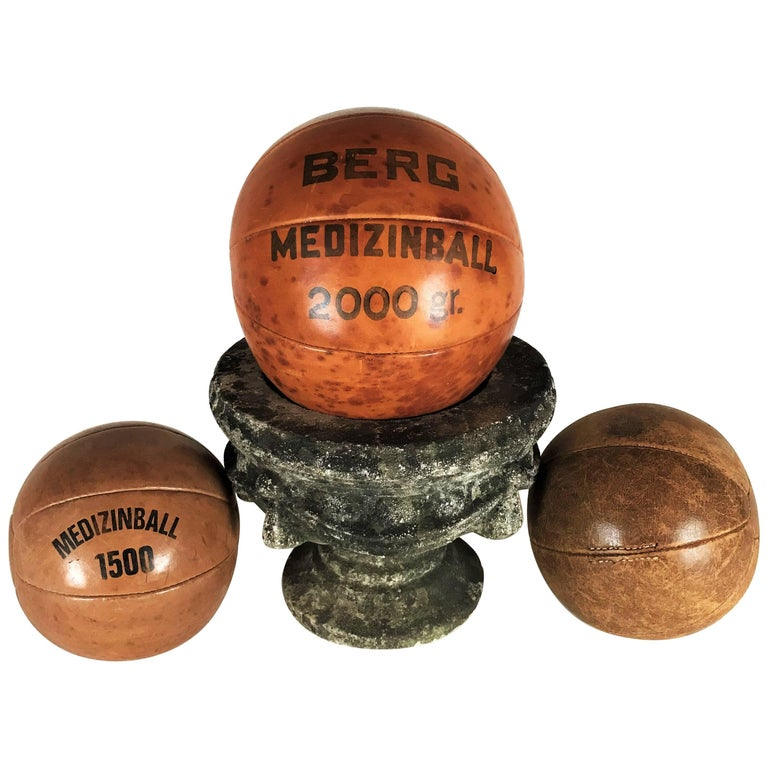 Three Vintage Leather Medicine Balls, 1920s-1930s Germany For Sale