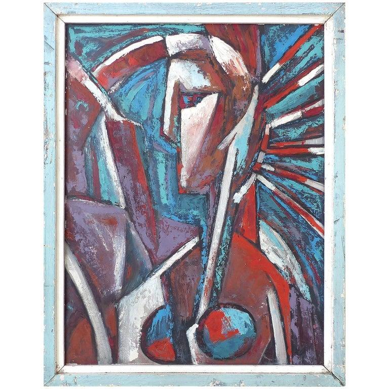 Mid-Century Modern Abstract Cubist Portrait