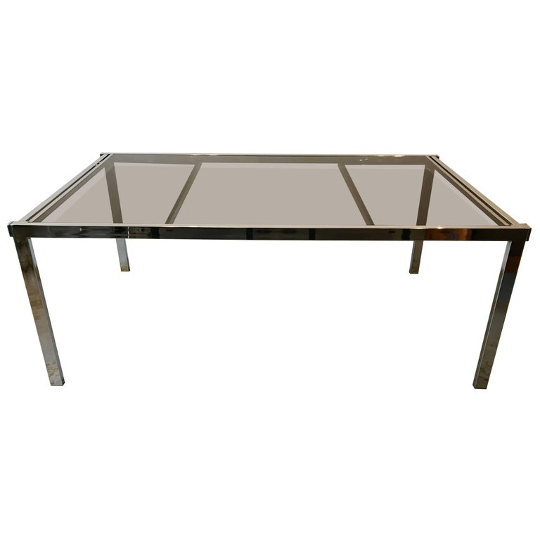 Mid-Century Modern Chrome Base and Smoked Glass Extension Dining Table, 1970s