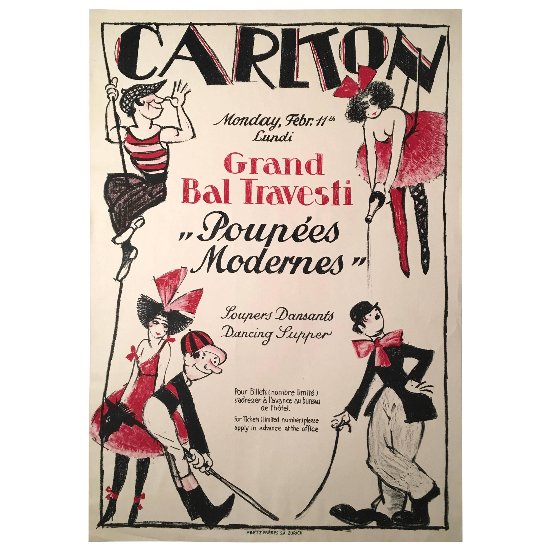 Vintage Swiss Masked Ball Poster, circa 1920s