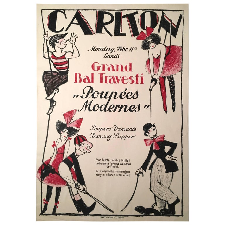 Vintage Swiss Masked Ball Poster, circa 1920s For Sale