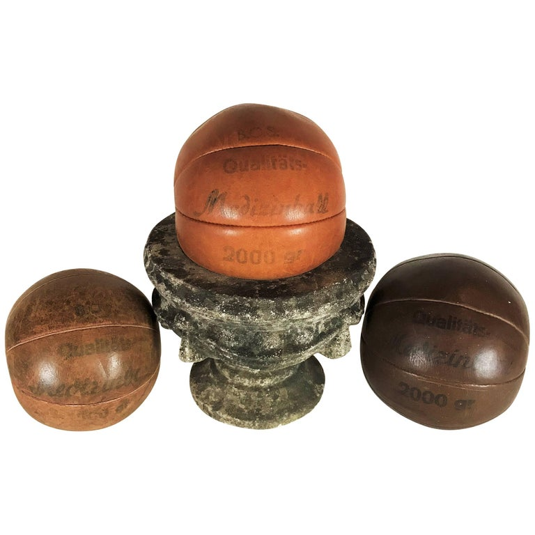 Three B.O.S. Vintage Leather Medicine Balls, 1920s-1930s Germany