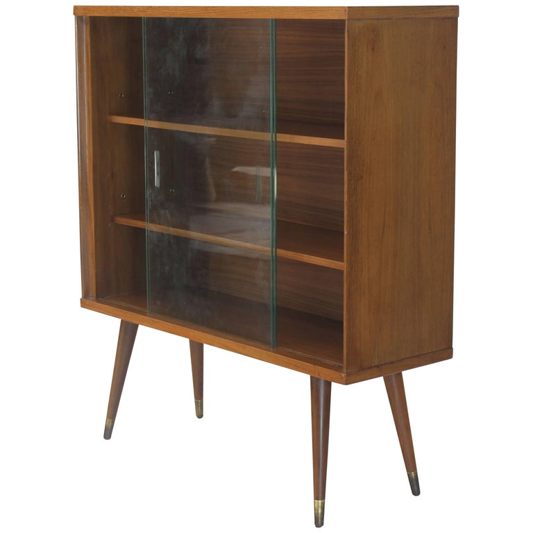 Sliding Glass Doors Mid Century Modern Bookcase Cabinet For Sale