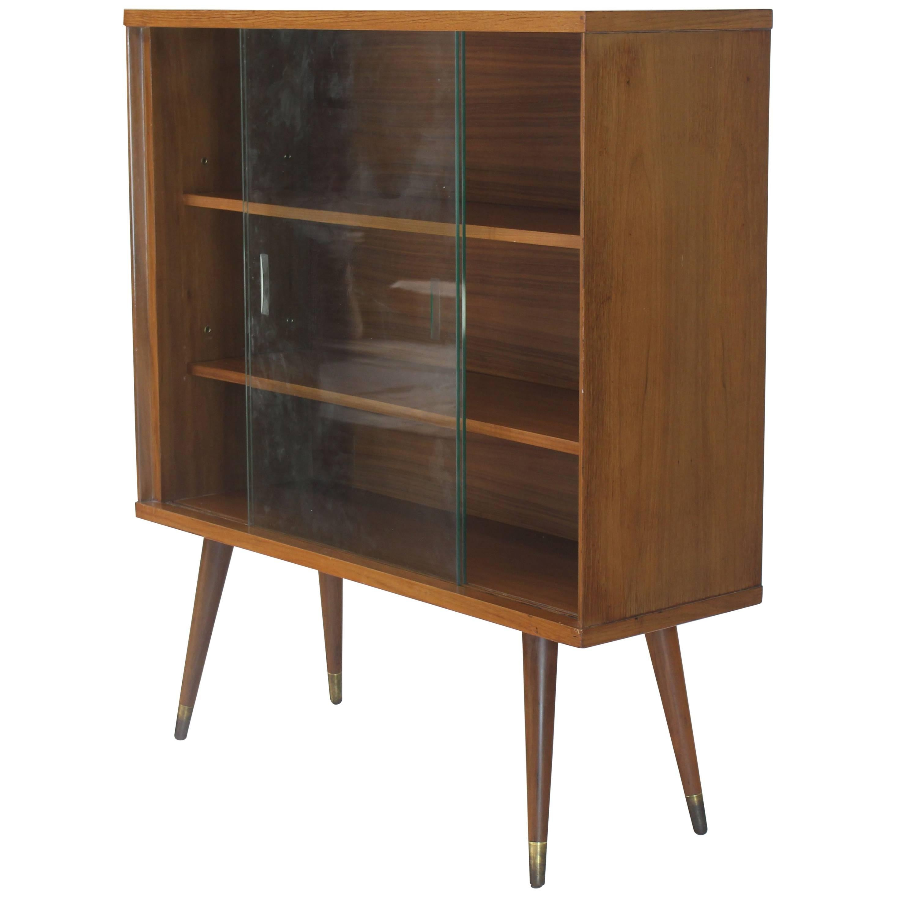 Sliding Glass Doors Mid Century Modern Bookcase Cabinet