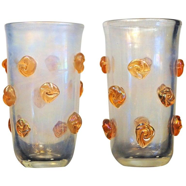 Alberto Donà, Clear Deep Iridescence and Orange Blush Rosettes Glass Vase