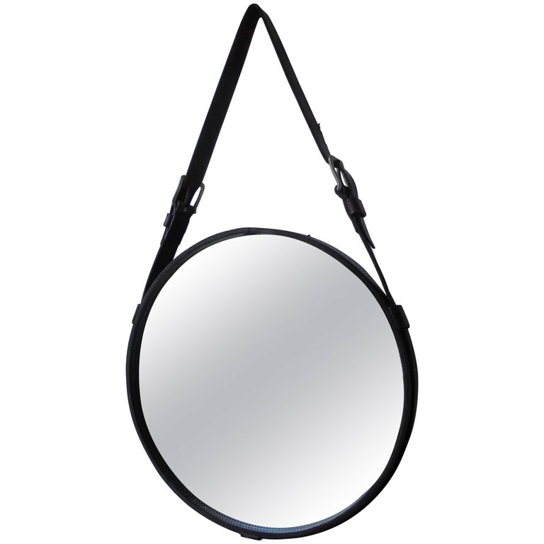 Black Leather Mirror by Jacques Adnet, France, 1950