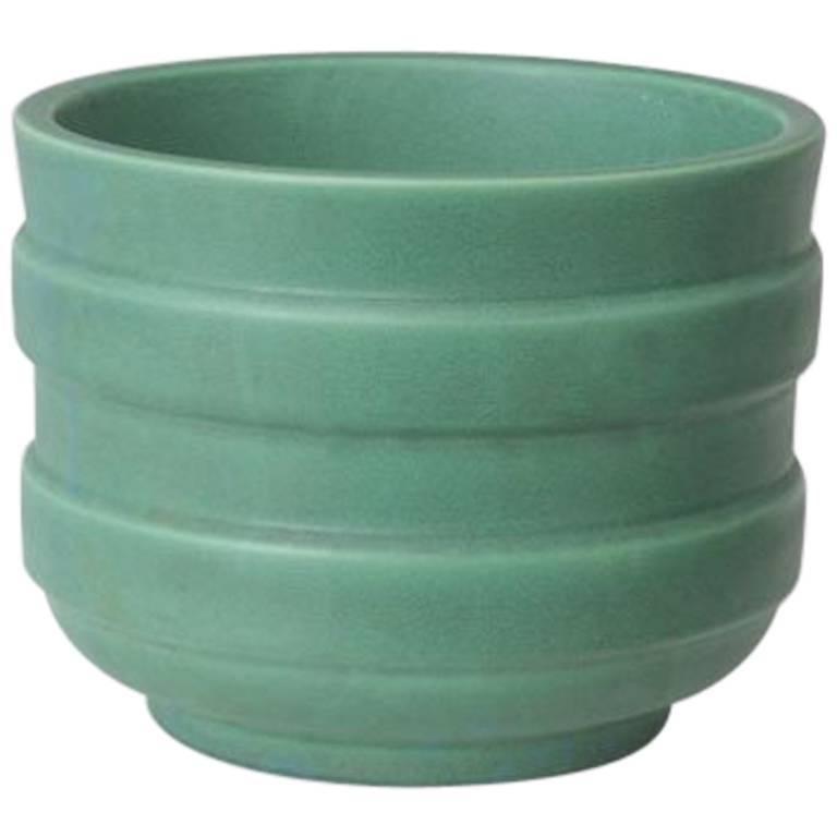 Opaque Green Italian Enamelled Ceramic Vase by Gio Ponti 20th Century Design  For Sale