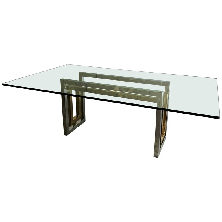 Mid-Century Modern Chrome and Brass Dining Table by Renato Zevi, Italy, 1970s For Sale