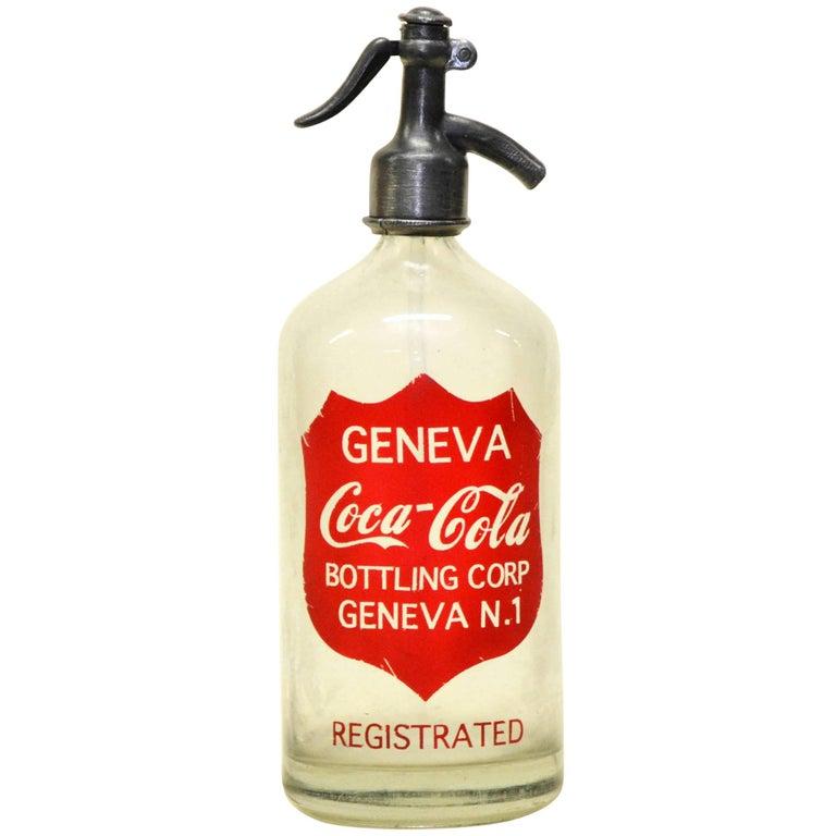 1950s Glass American Soda Syphon Seltzer Geneva Coca-Cola Bar Bottle