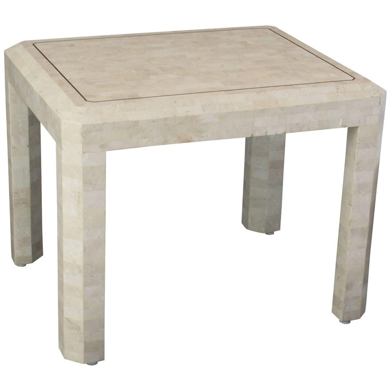 Tessellated Stone Brass Inlay Side Table