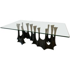 Paul Evans Brutalist Stalagmite Base Dining Table with Glass Top, Signed, 1970