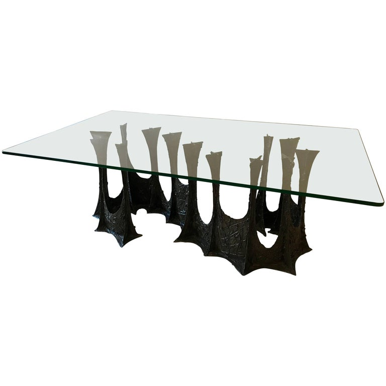 Paul Evans Brutalist Stalagmite Bronze and Resin Base Dining Table, 1970, Signed For Sale