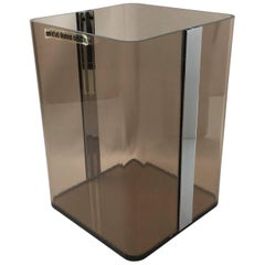 Michel Dumas for Roche Bobois Copper Smoke Lucite Paper Waste Basket