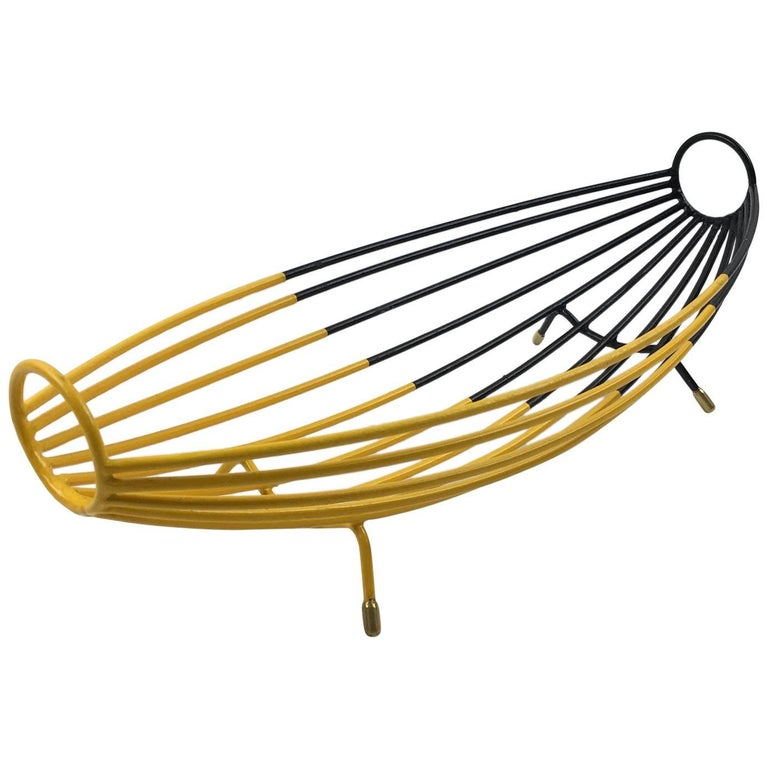 French Mid-Century Modern Black and Yellow Paint Metal and Brass Bowl Basket