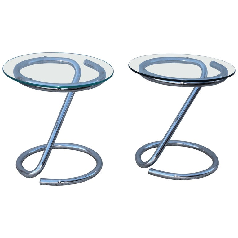1970s Tubular Chrome Side Tables