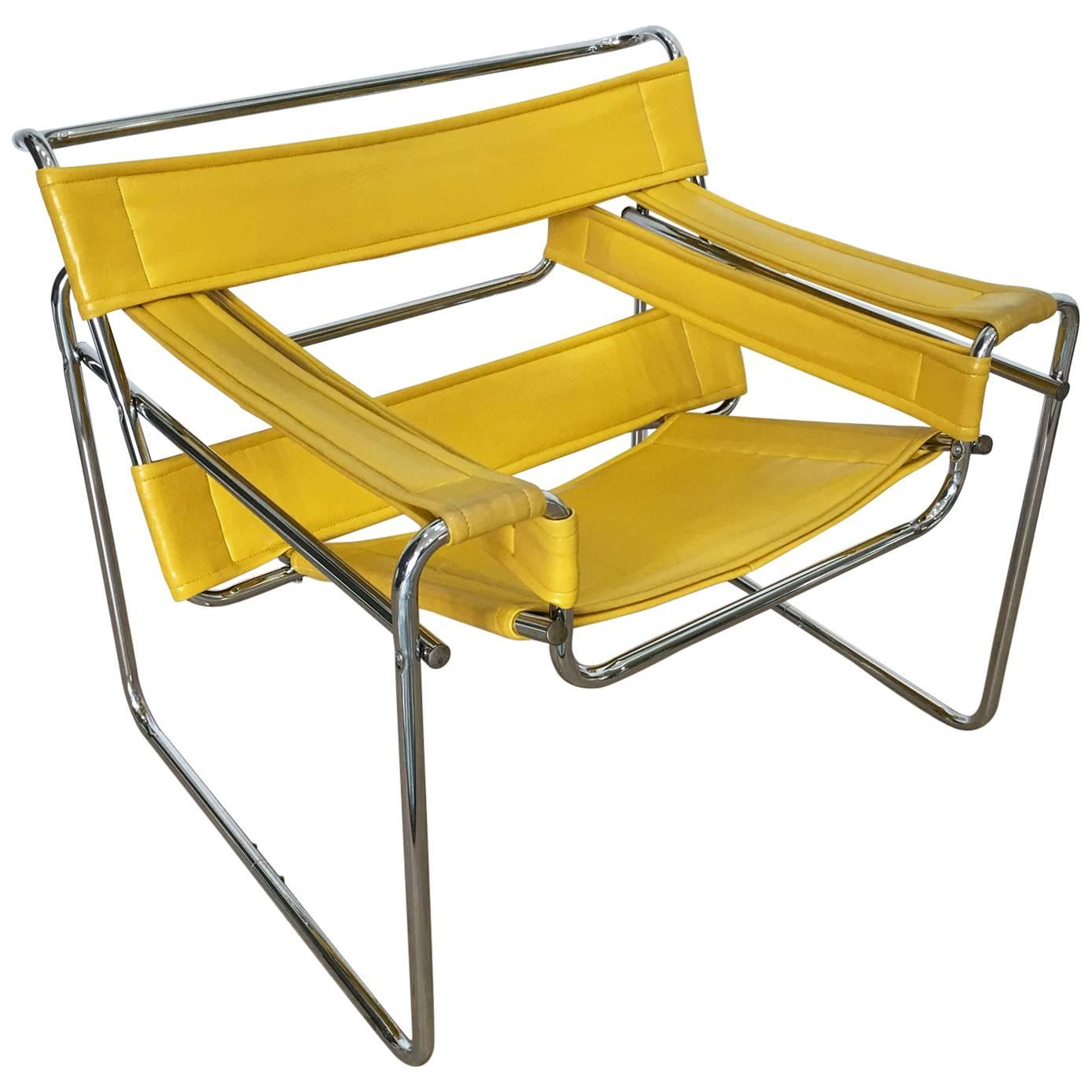 Yellow leather chair Tub Marcel Breuer Wassily Style Yellow Faux Leather And Steel Chair Armchair For Sale 1stdibs Marcel Breuer Wassily Style Yellow Faux Leather And Steel Chair