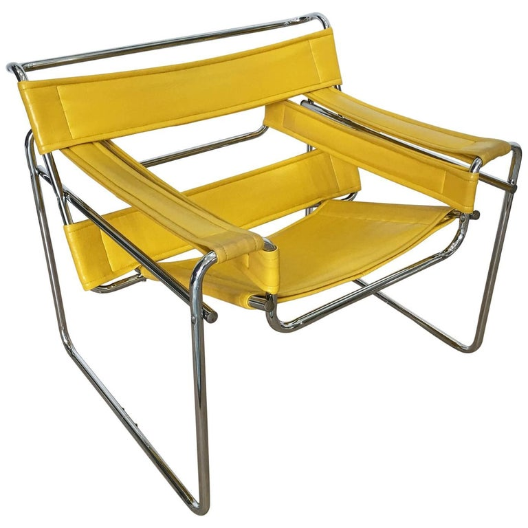 Marcel Breuer Wassily Style Yellow Faux Leather and Steel Chair Armchair