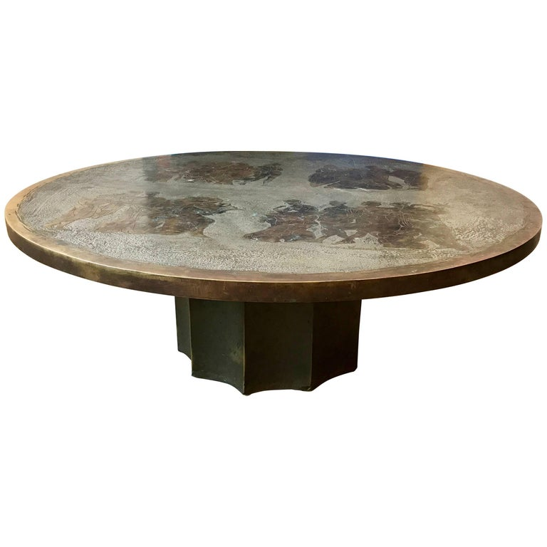 "Rare Philip & Kelvin Laverne ""Odyssey"" Series Etched Bronze Round Coffee Table"