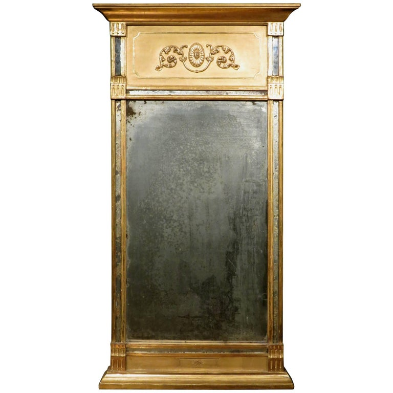 Fine Gustavian Period Giltwood Pier Mirror, Swedish, Circa 1800