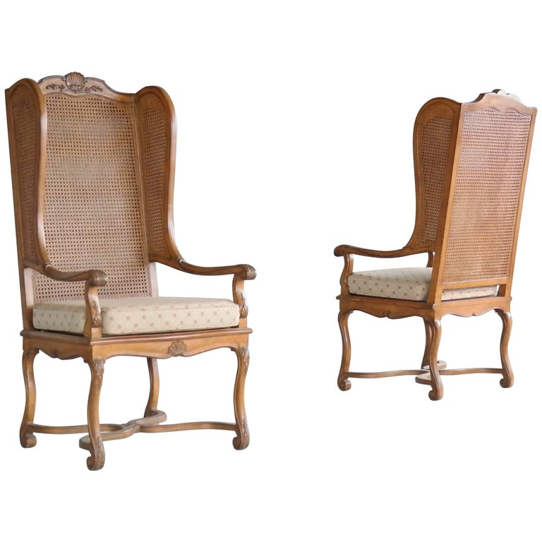 Pair of 1920s Hollywood Regency Cane Wingback Chairs